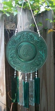 vintage glass transformed into Windchime