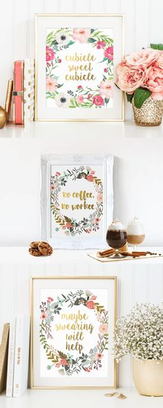 Printable office decor #ad cubicle sweet cubicle no coffee no workee maybe swearing will help
