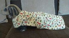 "New Handmade 16"" Doxie Design,  Dachshund Coat,Fleece lined.Button detail"