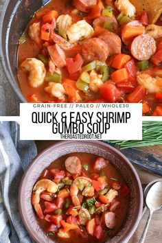 Shrimp Gumbo Soup (Paleo) - grain-free, dairy-free, easy to make and so easy #paleo #glutenfree #gumbo #soup #healthy #whole30 Healthy Soup Recipes, Easy Dinner Recipes, Wine Recipes, Easy Meals, Shrimp Gumbo, Gumbo Soup, Star Food, Grain Free, Dairy Free