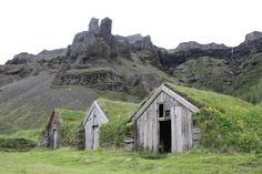 barns in the hill, Iceland