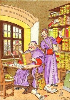 Harry Eliott, ''Les Moines à la Bibliothèque''