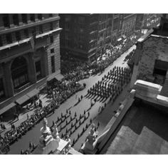 USA New York State New York city Columbus Day parade October 12 1949 elevated view Canvas Art - (24 x 36)