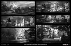 Infamous 2 - Red Light City District - Thumbnails, James Paick on ArtStation at https://www.artstation.com/artwork/infamous-2-red-light-city-district-thumbnails