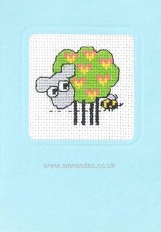 Sheep With Hearts Blue Gift Card Cross Stitch Kit