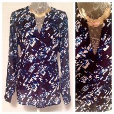 Floral Navy Blue Blouse Comfortable, classy Mossimo Supply Co Tops Blouses