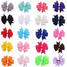 YUETON Pack of 20 Girls Kids Children Baby Hair Bows Alligator Clips Grosgrain Ribbon Bowknot Hair Accessories >>> You can get additional details at the image link.