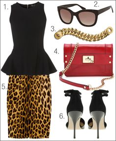 leopard skirt + peplum top