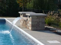Swimming Pool Waterfalls, water spouts and water features, click or dial to enhance your inground swimming pool. Swimming Pool Fountains, Swimming Pool Waterfall, Swiming Pool, Swimming Pools Backyard, Swimming Pool Designs, Pool With Waterfall, Landscaping Around Pool, Backyard Landscaping, Backyard Pool Designs