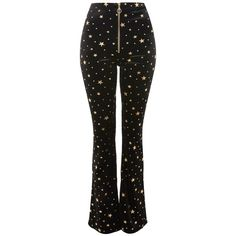 Topshop Star Velvet Flared Trousers (61 CAD) ❤ liked on Polyvore featuring pants, topshop, trousers, velvet, black, high-waist trousers, high rise flare pants, high waisted trousers, flare trousers and high waisted metallic pants