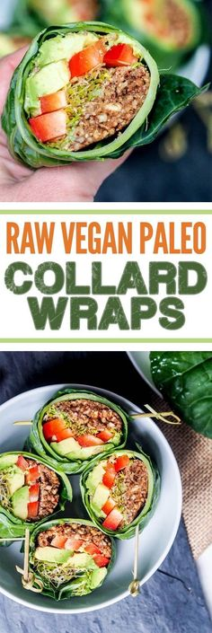 Raw vegan recipes are perfect when you want to eat healthy and detox your body from heavy meals or processed food. These collard wraps are going to be your new favorite healthy lunch. Ready in minutes and bursting with flavors from the avocados, red pepper, alfalfa, pecans and tamari mix. Gluten Free & Paleo too. #GoingRawVegan #paleodiet