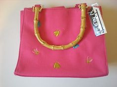 Tianni purse hot pink with embroidered bees, bamboo handles,Tianni handbag new in Clothing, Shoes & Accessories, Vintage, Vintage Accessories, Handbags, Purses, 1977-89 (Punk, New Wave, 80s) | eBay