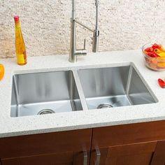 """Hahn Chef Series 32"""" x 18"""" Double Bowl Undermount Kitchen Sink"""
