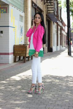 Pink jacket with white jeans