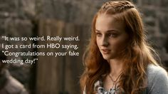 """And she got a 'congratulations' card from the network for her wedding. 