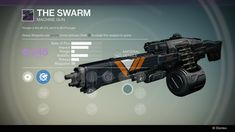 "The Swarm is a legendary Vanguard Machine Gun. It can be obtained from an engram or by purchasing it from Roni 55-30. Perks (Persistence: ""This weapon grows more accurate the longer it is fired."", Grenadier: ""Kills with this weapon reduce the cooldown of your grenade.""), Modifiers (Aggressive Ballistics: ""More predictable recoil. Enhanced Impact. Shorter range and more recoil."", Smart Drift Control: ""Predictable and controllable recoil. Penalty to range."", Field Choke: ""More range and..."