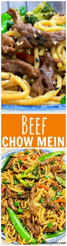 Easy Beef Chow Mein Recipe-Our Recipe Is Quick, Easy And Delish!) Beef Chow Mein ~ crisp veggies, tender beef, and egg noodles are tossed in a Chinese-inspired sauce! Meat Recipes, Asian Recipes, Dinner Recipes, Cooking Recipes, Healthy Recipes, Sirloin Recipes, Beef Sirloin, Meatball Recipes, Cocktail Recipes