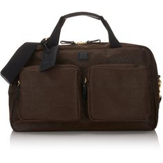 """Bric's Men's MyLife 22"""" Cargo Duffel (4,980 MXN) ❤ liked on Polyvore featuring men's fashion, men's bags, brown, mens leather duffle bag, mens duffle bags, mens leather duffel bag, men's duffel bags and mens leather bags"""