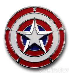 Western Superhero Captain America Shield Mens Metal Belt Buckle Leather Costume
