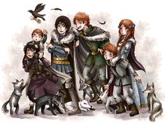 Stark Children by ~MiiBT I love all the little wolf personalities. Check out Shaggydog, being all fierce!