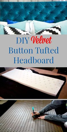 DIY Velvet Diamond Button Tufted Headboard With Tutorial This Is A 7 For  Skill And Difficulty