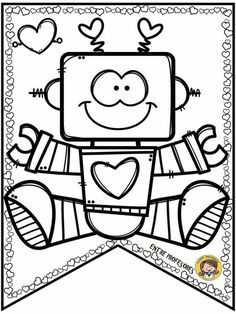 Cute banners or pennants of love and friendship day Art Drawings For Kids, Cute Drawings, Art For Kids, Coloring Book Pages, Coloring Sheets, Adult Coloring, Valentine Coloring Pages, Cute Banners, Digital Stamps