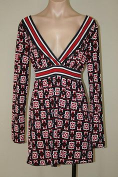 NWT Sophie Max Surplice V-neck A-line Geometric Floral Empire Tunic Top size S #SophieMax #Tunic #Career