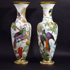 3) A Superb Pair of French Opaline Vases of baluster form and painted on three sides with three different types of birds perched in flowering branches