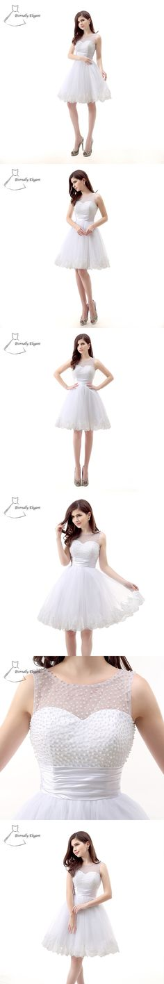 White Cute Tank A Line O Neck Short Sleeves Short/Mini Length Tulle prom Dresses Party Dress With Beadwork SH0037
