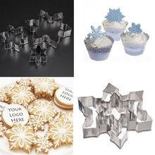 3pcs Snowflake Stainless Steel Biscuit Cake Cookies Fondant Decorating Cutter Mold(China (Mainland))