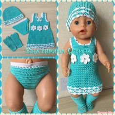 Baby born diy doll clothes 18 New ideas Knitting Dolls Clothes, Crochet Doll Clothes, Doll Clothes Patterns, Baby Born Kleidung, Baby Born Clothes, Baby Boy Baptism Outfit, Baby Pop, Crochet Doll Dress, Baby Doll Accessories