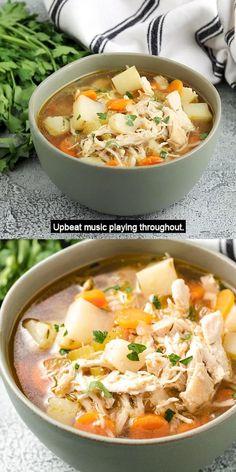 Chicken Potato Soup, Chicken Soup Recipes, Easy Soup Recipes, Dinner Recipes, Cooking Recipes, Healthy Recipes, Chicken Chili, Chicken Potato Carrot Recipe, Chicken Minestrone Soup Recipe