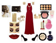 """Red Dress"" by katiekupkake ❤ liked on Polyvore featuring moda, Elie Saab, Giuseppe Zanotti, H&M, Apt. 9, Rivka Friedman, Salvatore Ferragamo, Marc by Marc Jacobs, Eos y Maybelline"