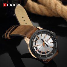 CURREN 8307 Calendar Unique Design Genuine Leather Men Watch Sport Watches, Watches For Men, Quartz Watch, Leather Men, Bracelet Watch, Men Casual, Men Watch, Calendar, Accessories