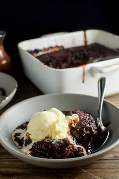 Self Saucing Chocolate Pudding - A easy to make, indulgent chocolate dessert with a luscious chocolate sauce! With hidden Strawberry and Bourbon flavours that makes this BETTER than your average Self Saucing pudding!