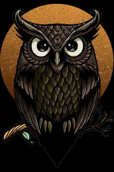 Shop angoes's designs on Design By Humans. Cute Owls Wallpaper, Color Art Lessons, Colorful Owl Tattoo, Totem Tattoo, Owl Wings, Owl Artwork, Owl Moon, Owl Tattoo Design, Paper Owls