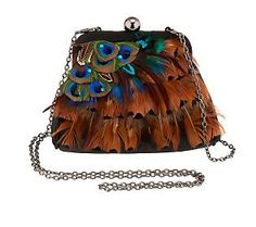 Lee Sands Peacock Feather Pouch Handbag