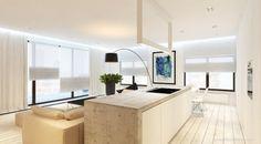 weiße Küchen-Insel schlichtes Design