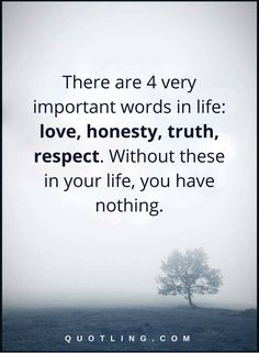 life quotes there are 4 very important words in life- love, honesty, truth, respect. Without these in your life, you have nothing.