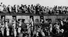 Muslim refugees crowd atop a train leaving New Delhi for Pakistan in September 1947.
