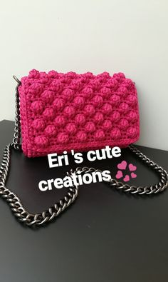 Handmade crochet crossbody bag with bubbles Missoni style in lovely fouchsia color only by Eri 's cute creations ! Handmade Handbags, Missoni, Chanel Boy Bag, Bubbles, Crossbody Bag, Gucci, Shoulder Bag, Crochet, Cute