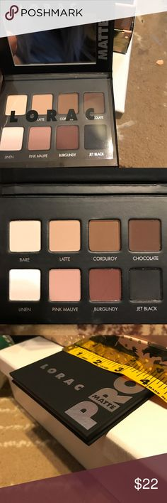 LORAC matte pro eyeshadow palette BNWT. All my beauty products are sold brand new, unused and untouched. This still has the protective covering. Perfect slim design to make it very convenient to carry around or travel. It is a high quality make up line that is going to last you all day, really isn't necessary to carry around unless you plan on changing you look from day to night. lorac Makeup Eyeshadow