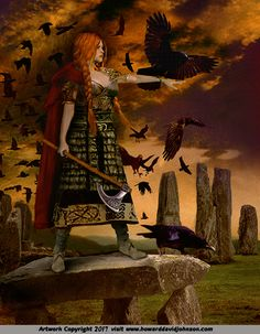 f Cleric Battle Axe Crows Women of Mythology; Warriors, Mothers & Virgins: The Art of Howard David Johnson; Women of Greek, Roman, Norse & Asian Mythology Fantasy Kunst, Fantasy Art, Vikings, Thor, Irish Mythology, Warrior Spirit, Warrior Quotes, Celtic Goddess, Celtic Warriors