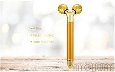 Beauty Bar 24k Golden Pulse 3D Roller Stick Massager, Face Lift Tool Firming Electric Sonic Depuffer Body Face Massager Facial Care, Skin Tightening, Beauty Bar, Electric, 3d, Face, The Face, Faces, Face Care