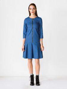 Jeansowa sukienka  z ozdobnym suwakiem na przodzie