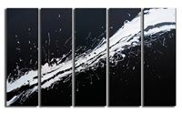 multiple canvasses instill a sense of movement in the white splatter across the whole piece. White space that is fooling us, do you think of the empty spaces between the canvasses to be 'white space'? Or is there only one level of white space, and the paint splatter has it?