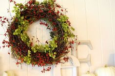 Hops and Rose Hip Wreath
