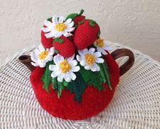 NEW Handmade Tea Cozy Daisy/Strawberry Red Base from Ukrainian Designer Unique!