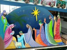 Nativity with sheperds and the 3 wise men Christmas Nativity Scene, Christmas Art, Christmas Projects, Vintage Christmas, Christmas Holidays, Christmas Ornaments, Nativity Sets, Christmas Yard Decorations, Church Banners