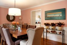 transitional dining room by Mary Prince paint: Heather Pink by Benjamin Moore whole house is gorgeous Pink Dining Rooms, Cozy Home Decorating, Trestle Dining Tables, Big Girl Rooms, Dining Room Design, Cozy House, Home And Living, Living Room, Colorful Interiors